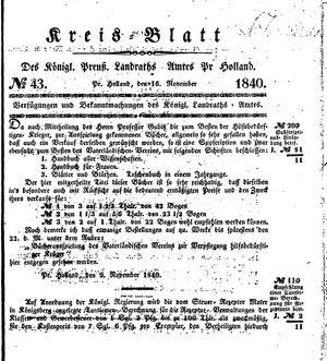 Kreisblatt des Königl. Preuss. Landraths-Amtes Preuss. Holland vom 16.11.1840