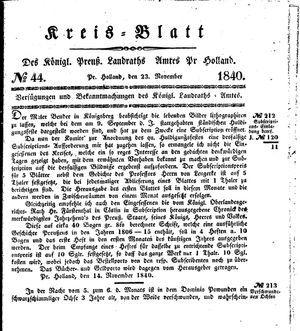 Kreisblatt des Königl. Preuss. Landraths-Amtes Preuss. Holland vom 23.11.1840
