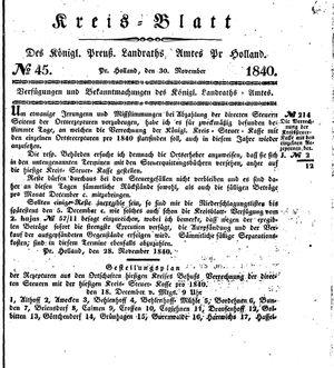 Kreisblatt des Königl. Preuss. Landraths-Amtes Preuss. Holland vom 30.11.1840