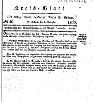 Kreisblatt des Königl. Preuss. Landraths-Amtes Preuss. Holland vom 07.12.1840