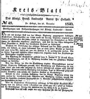 Kreisblatt des Königl. Preuss. Landraths-Amtes Preuss. Holland vom 21.12.1840