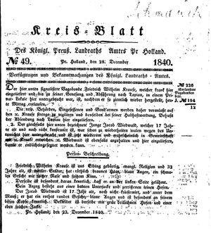 Kreisblatt des Königl. Preuss. Landraths-Amtes Preuss. Holland vom 28.12.1840