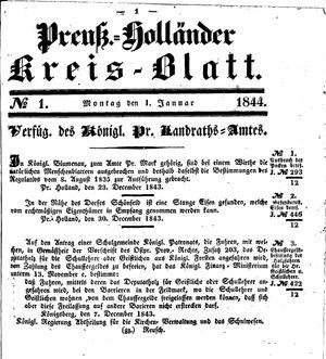 Kreisblatt des Königl. Preuss. Landraths-Amtes Preuss. Holland vom 01.01.1844