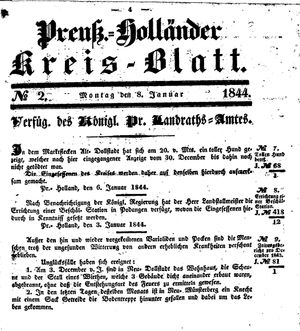 Kreisblatt des Königl. Preuss. Landraths-Amtes Preuss. Holland vom 08.01.1844