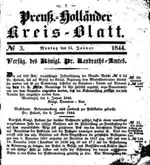 Kreisblatt des Königl. Preuss. Landraths-Amtes Preuss. Holland on Jan 15, 1844
