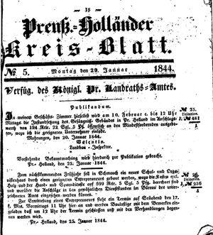 Kreisblatt des Königl. Preuss. Landraths-Amtes Preuss. Holland vom 29.01.1844