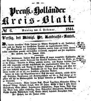 Kreisblatt des Königl. Preuss. Landraths-Amtes Preuss. Holland vom 05.02.1844