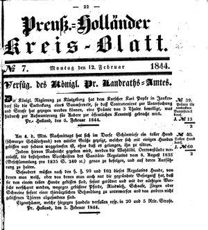 Kreisblatt des Königl. Preuss. Landraths-Amtes Preuss. Holland vom 12.02.1844