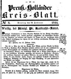 Kreisblatt des Königl. Preuss. Landraths-Amtes Preuss. Holland vom 19.02.1844