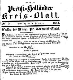 Kreisblatt des Königl. Preuss. Landraths-Amtes Preuss. Holland vom 26.02.1844