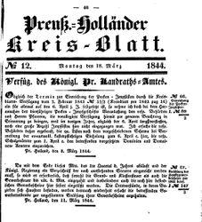Kreisblatt des Königl. Preuss. Landraths-Amtes Preuss. Holland (18.03.1844)