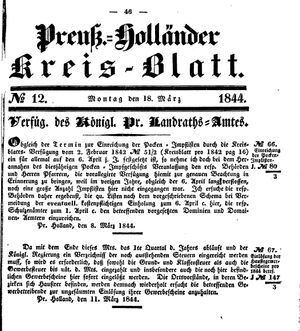 Kreisblatt des Königl. Preuss. Landraths-Amtes Preuss. Holland vom 18.03.1844