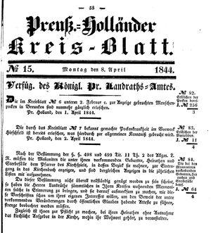 Kreisblatt des Königl. Preuss. Landraths-Amtes Preuss. Holland vom 08.04.1844