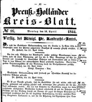 Kreisblatt des Königl. Preuss. Landraths-Amtes Preuss. Holland vom 15.04.1844