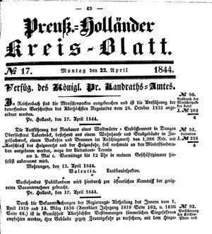 Kreisblatt des Königl. Preuss. Landraths-Amtes Preuss. Holland vom 22.04.1844