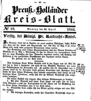 Kreisblatt des Königl. Preuss. Landraths-Amtes Preuss. Holland vom 29.04.1844