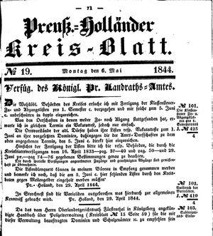Kreisblatt des Königl. Preuss. Landraths-Amtes Preuss. Holland vom 06.05.1844