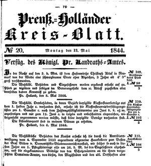 Kreisblatt des Königl. Preuss. Landraths-Amtes Preuss. Holland vom 13.05.1844