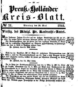 Kreisblatt des Königl. Preuss. Landraths-Amtes Preuss. Holland vom 20.05.1844
