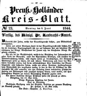 Kreisblatt des Königl. Preuss. Landraths-Amtes Preuss. Holland vom 03.06.1844