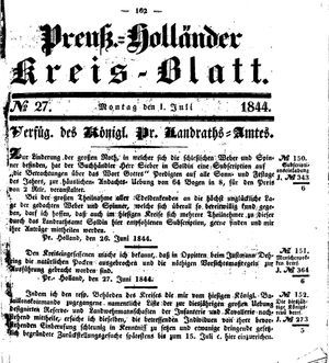 Kreisblatt des Königl. Preuss. Landraths-Amtes Preuss. Holland vom 01.07.1844