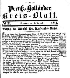 Kreisblatt des Königl. Preuss. Landraths-Amtes Preuss. Holland vom 05.08.1844