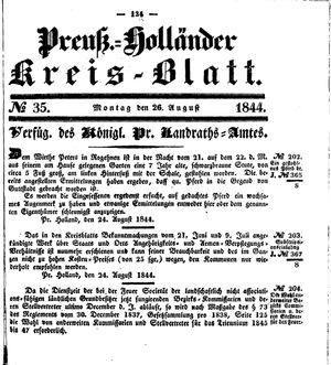 Kreisblatt des Königl. Preuss. Landraths-Amtes Preuss. Holland vom 26.08.1844