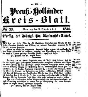 Kreisblatt des Königl. Preuss. Landraths-Amtes Preuss. Holland vom 02.09.1844