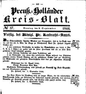 Kreisblatt des Königl. Preuss. Landraths-Amtes Preuss. Holland vom 09.09.1844