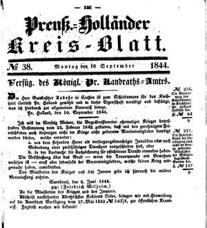 Kreisblatt des Königl. Preuss. Landraths-Amtes Preuss. Holland vom 16.09.1844