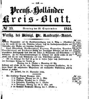 Kreisblatt des Königl. Preuss. Landraths-Amtes Preuss. Holland vom 23.09.1844