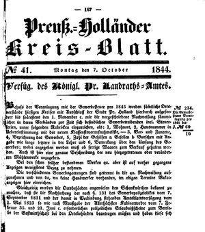 Kreisblatt des Königl. Preuss. Landraths-Amtes Preuss. Holland vom 07.10.1844