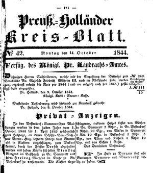 Kreisblatt des Königl. Preuss. Landraths-Amtes Preuss. Holland vom 14.10.1844