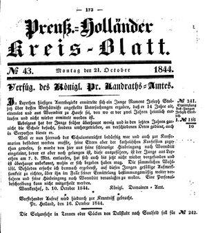 Kreisblatt des Königl. Preuss. Landraths-Amtes Preuss. Holland vom 21.10.1844