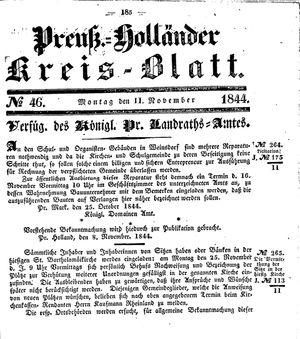 Kreisblatt des Königl. Preuss. Landraths-Amtes Preuss. Holland vom 11.11.1844
