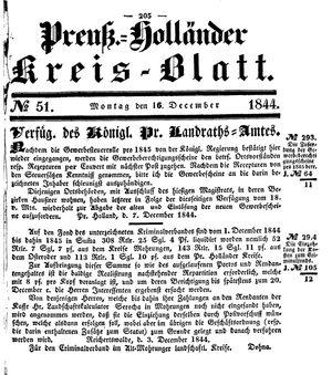 Kreisblatt des Königl. Preuss. Landraths-Amtes Preuss. Holland vom 16.12.1844