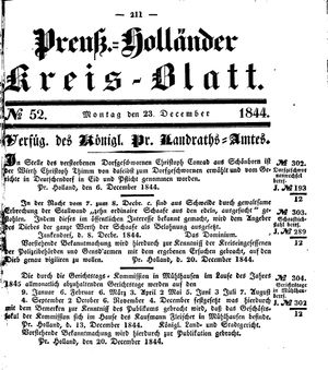 Kreisblatt des Königl. Preuss. Landraths-Amtes Preuss. Holland vom 23.12.1844