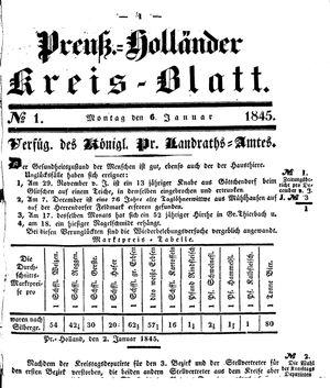 Kreisblatt des Königl. Preuss. Landraths-Amtes Preuss. Holland vom 06.01.1845