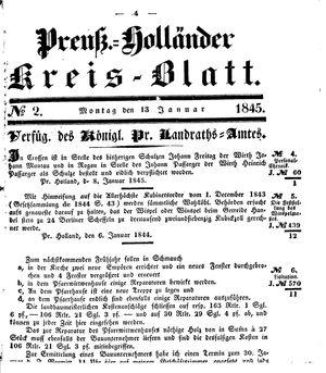 Kreisblatt des Königl. Preuss. Landraths-Amtes Preuss. Holland vom 13.01.1845