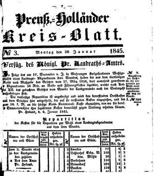 Kreisblatt des Königl. Preuss. Landraths-Amtes Preuss. Holland vom 20.01.1845