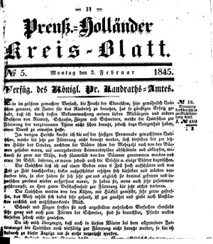 Kreisblatt des Königl. Preuss. Landraths-Amtes Preuss. Holland vom 03.02.1845