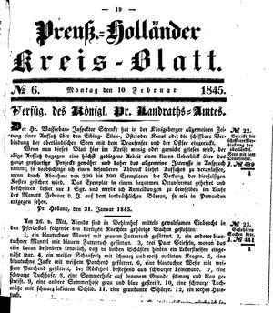 Kreisblatt des Königl. Preuss. Landraths-Amtes Preuss. Holland vom 10.02.1845