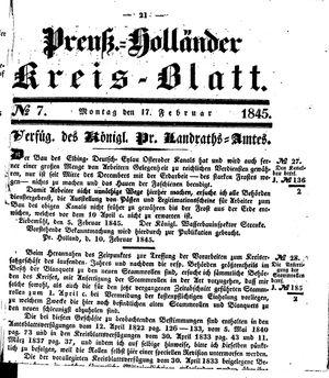 Kreisblatt des Königl. Preuss. Landraths-Amtes Preuss. Holland vom 17.02.1845