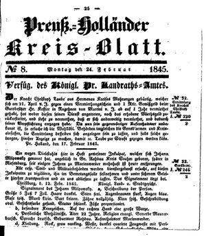 Kreisblatt des Königl. Preuss. Landraths-Amtes Preuss. Holland vom 24.02.1845