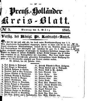 Kreisblatt des Königl. Preuss. Landraths-Amtes Preuss. Holland vom 03.03.1845