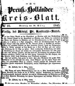 Kreisblatt des Königl. Preuss. Landraths-Amtes Preuss. Holland on Mar 10, 1845
