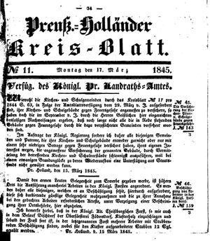 Kreisblatt des Königl. Preuss. Landraths-Amtes Preuss. Holland vom 17.03.1845