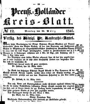 Kreisblatt des Königl. Preuss. Landraths-Amtes Preuss. Holland vom 24.03.1845
