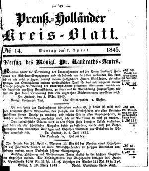 Kreisblatt des Königl. Preuss. Landraths-Amtes Preuss. Holland vom 07.04.1845