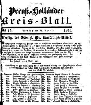 Kreisblatt des Königl. Preuss. Landraths-Amtes Preuss. Holland on Apr 14, 1845